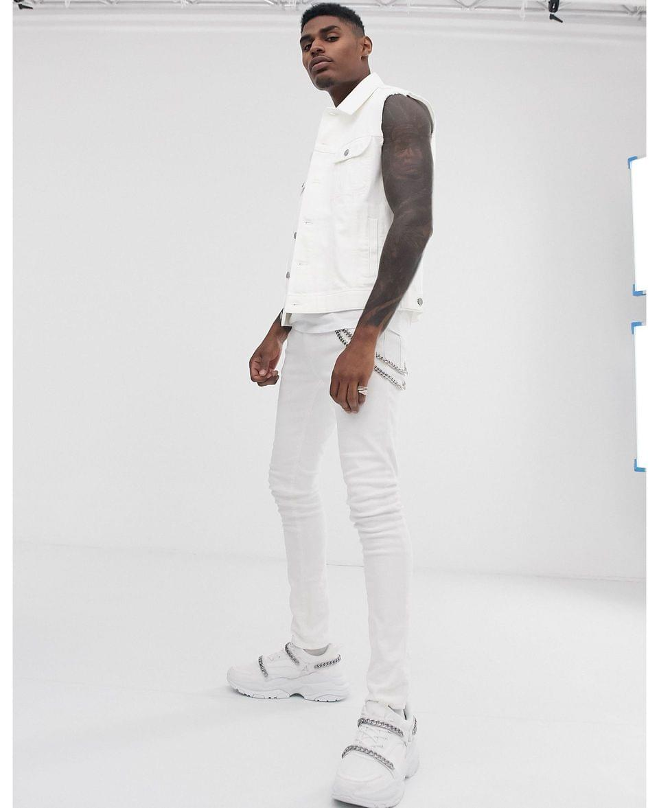 Men's sleeveless denim jacket in white
