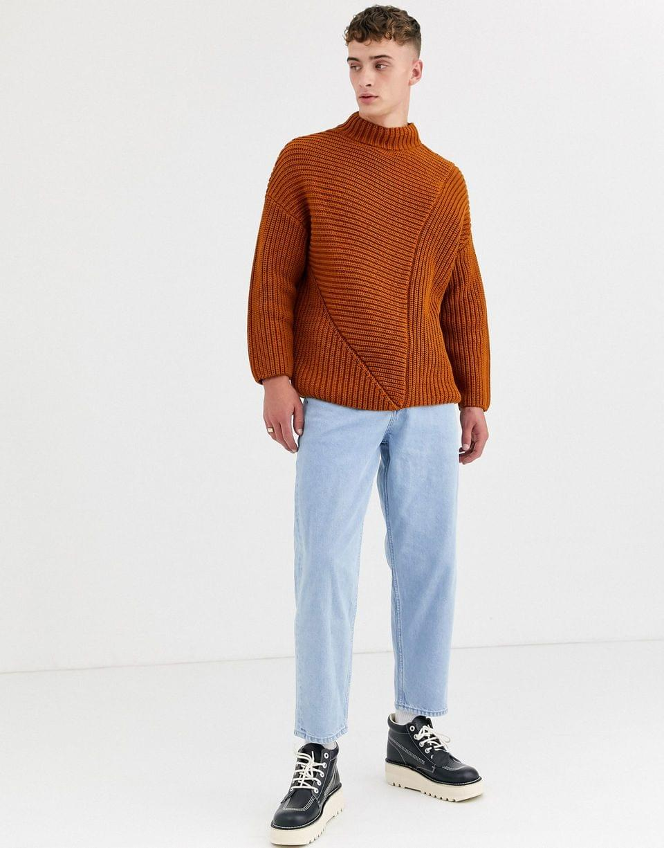 Men's WHITE oversized sweater in chunky rust knit