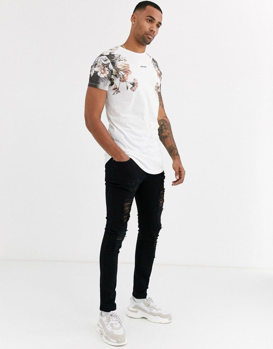 Men's Religion tall t-shirt with pink box skull print in white