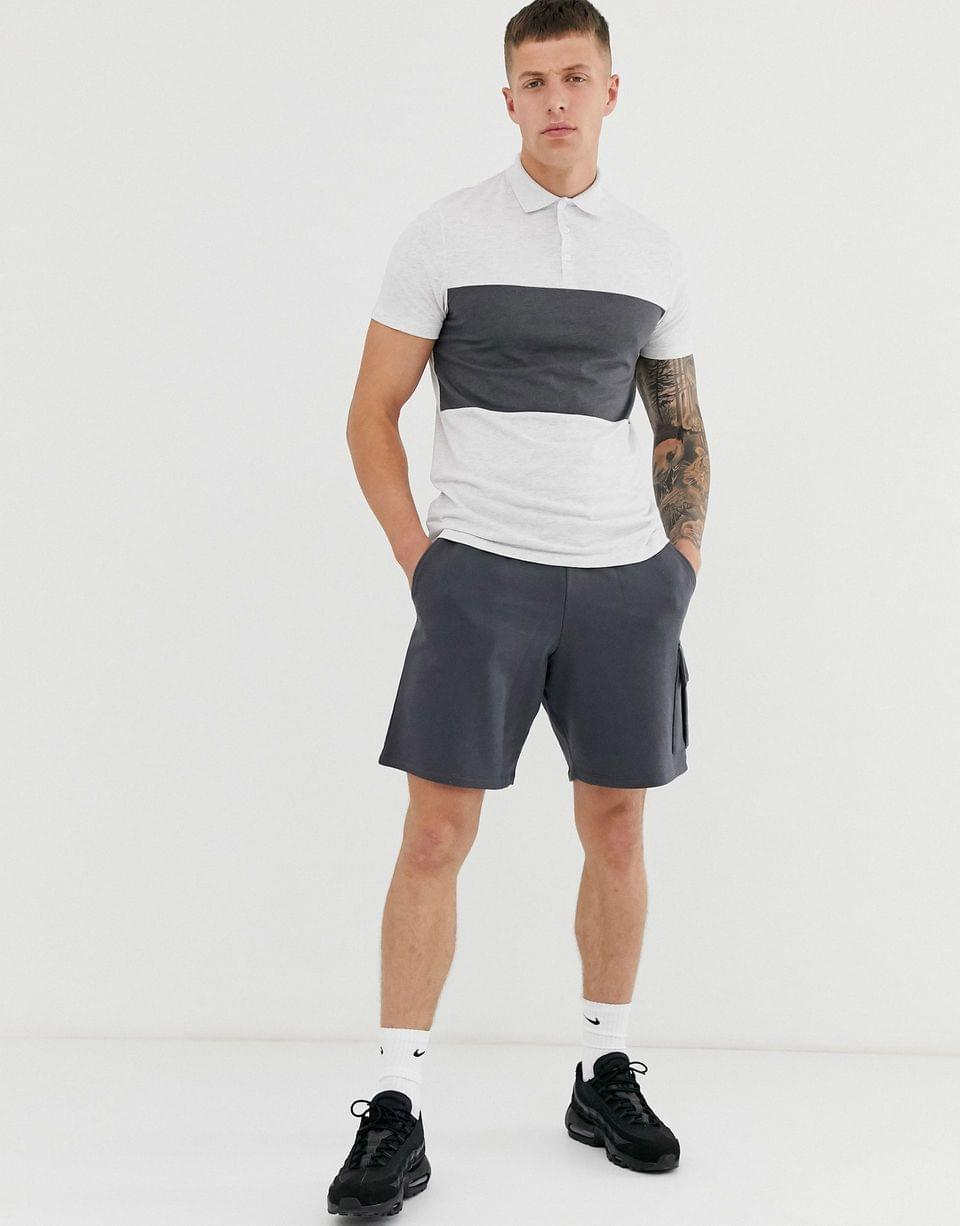 Men's polo shirt with contrast body panel in white marl