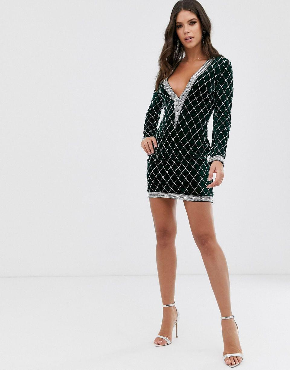 Women's Tall long sleeve velvet embellished plunge mini dress