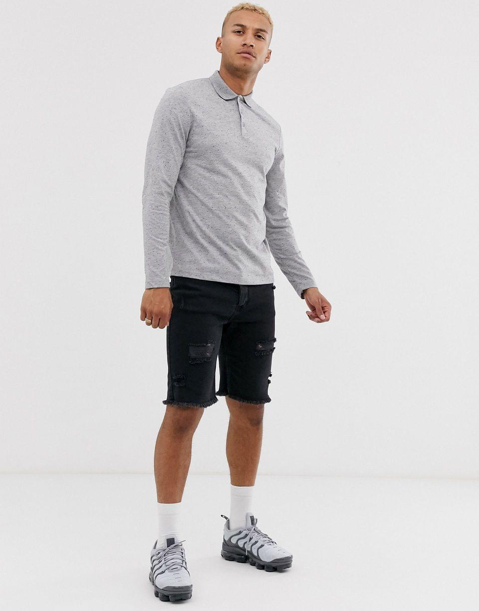 Men's long sleeve polo shirt in interest fabric in gray