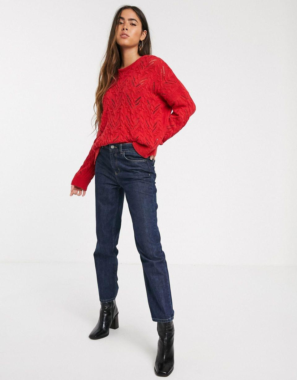 Women's Stradivarius braided knit sweater in red