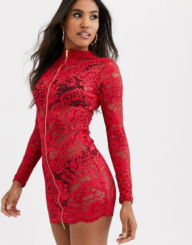 WOMEN Ann Summers Blaire lace zip front dress in red