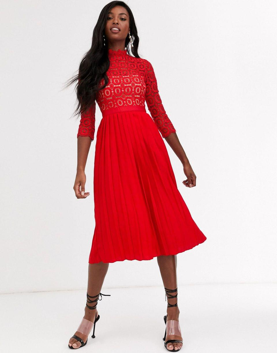 Women's Little Mistress Tall midi length 3/4 sleeve lace dress in tomato red