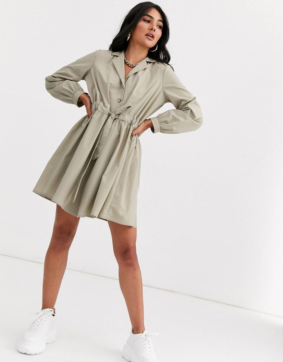 Women's button through mini cotton shirt dress with ruched waist