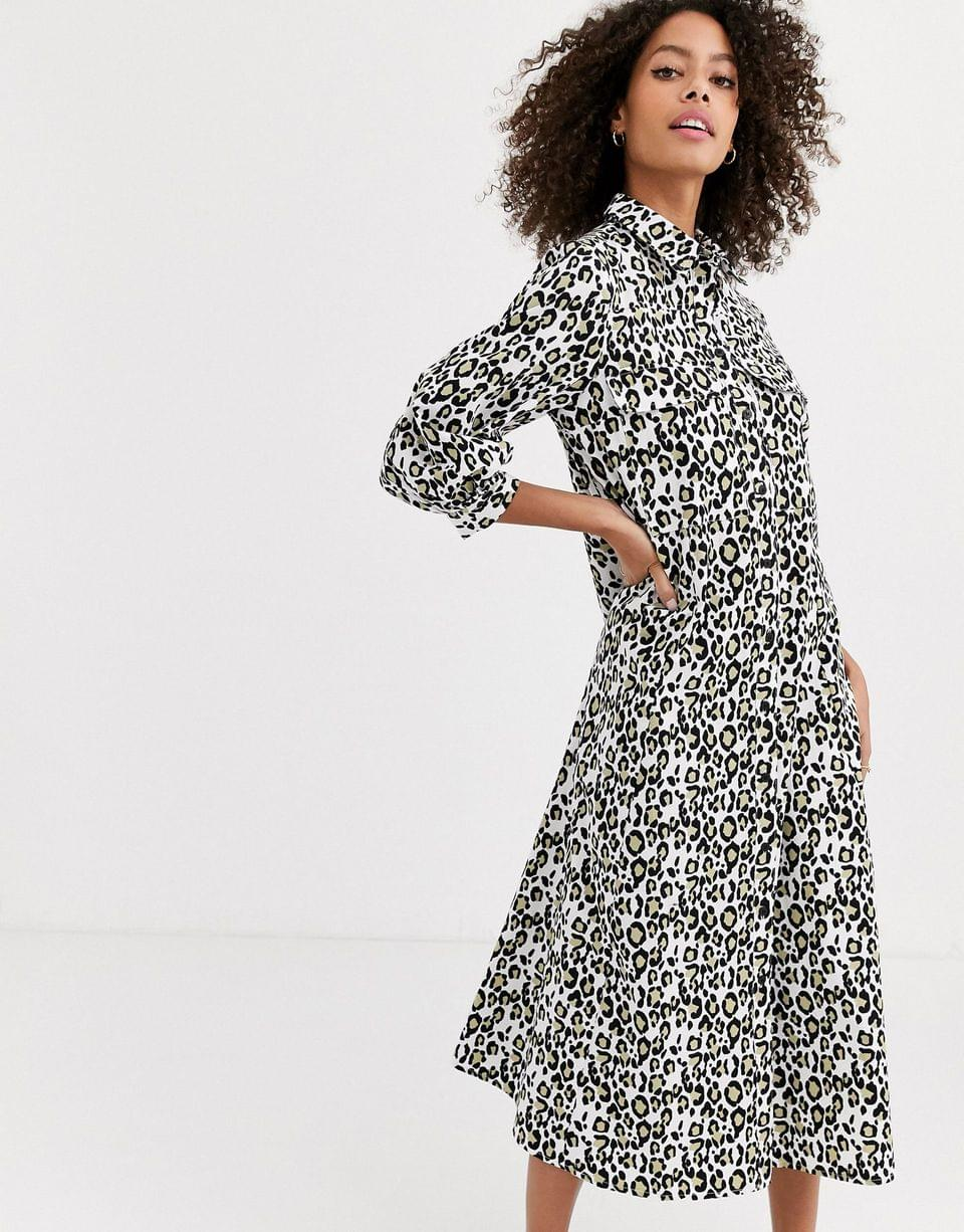 Women's trapeze midi shirt dress in leopard print