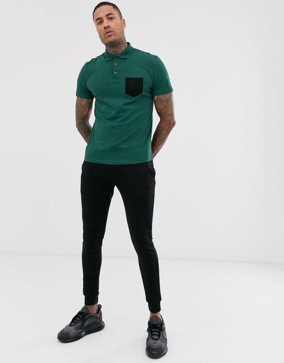 Men's polo shirt with contrast pocket in green