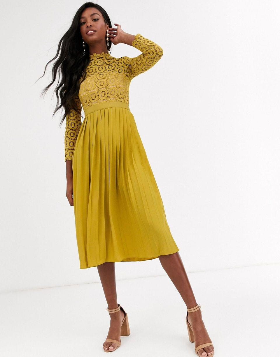 Women's Little Mistress Tall midi length long sleeve lace dress in mustard