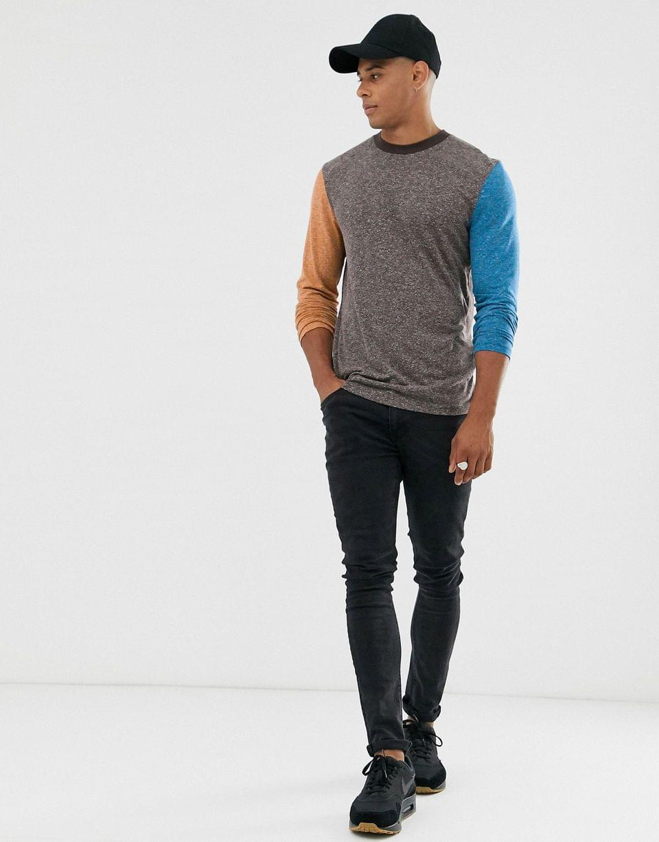 Men's long sleeve t-shirt in linen mix with contrast sleeves in brown