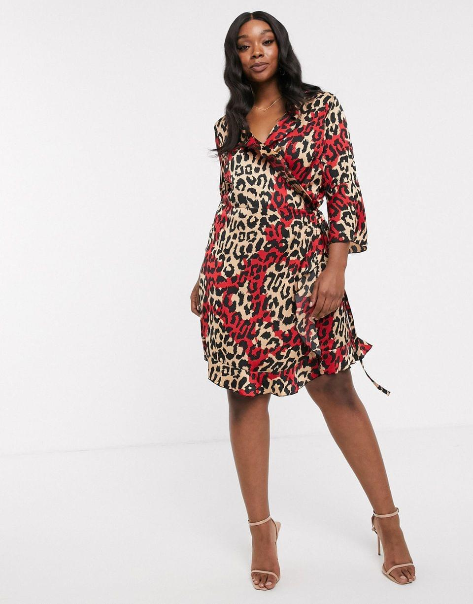 Women's Outrageous Fortune Plus ruffle wrap mini dress with fluted sleeve in multi leopard print