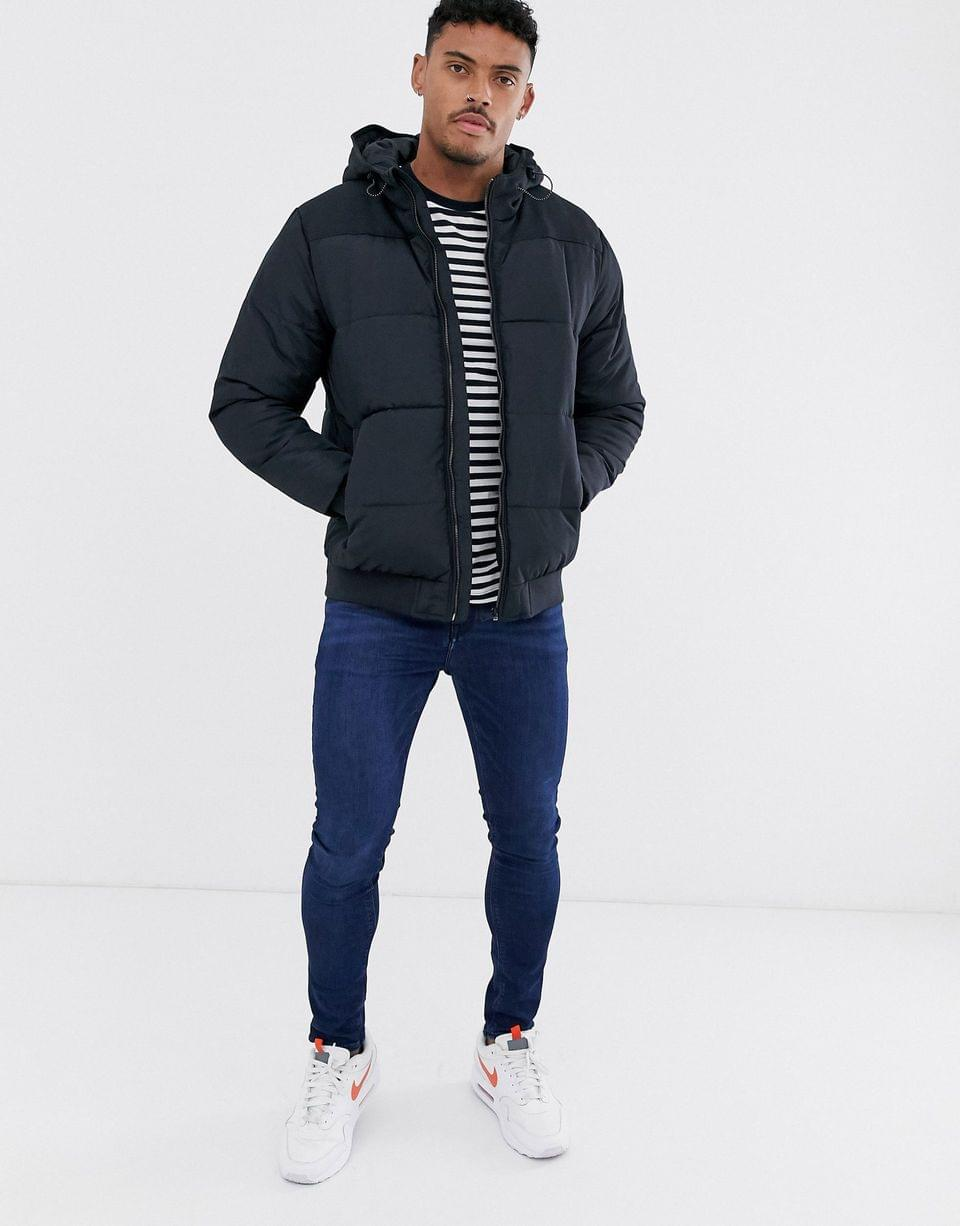 Men's Only & Sons hooded padded jacket in navy