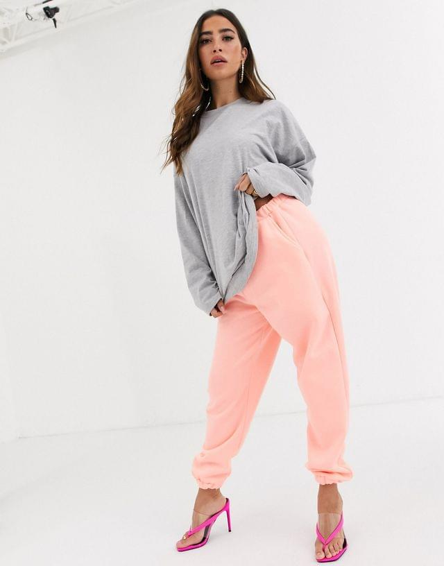 WOMEN Missguided oversized t-shirt with city lights back print in gray