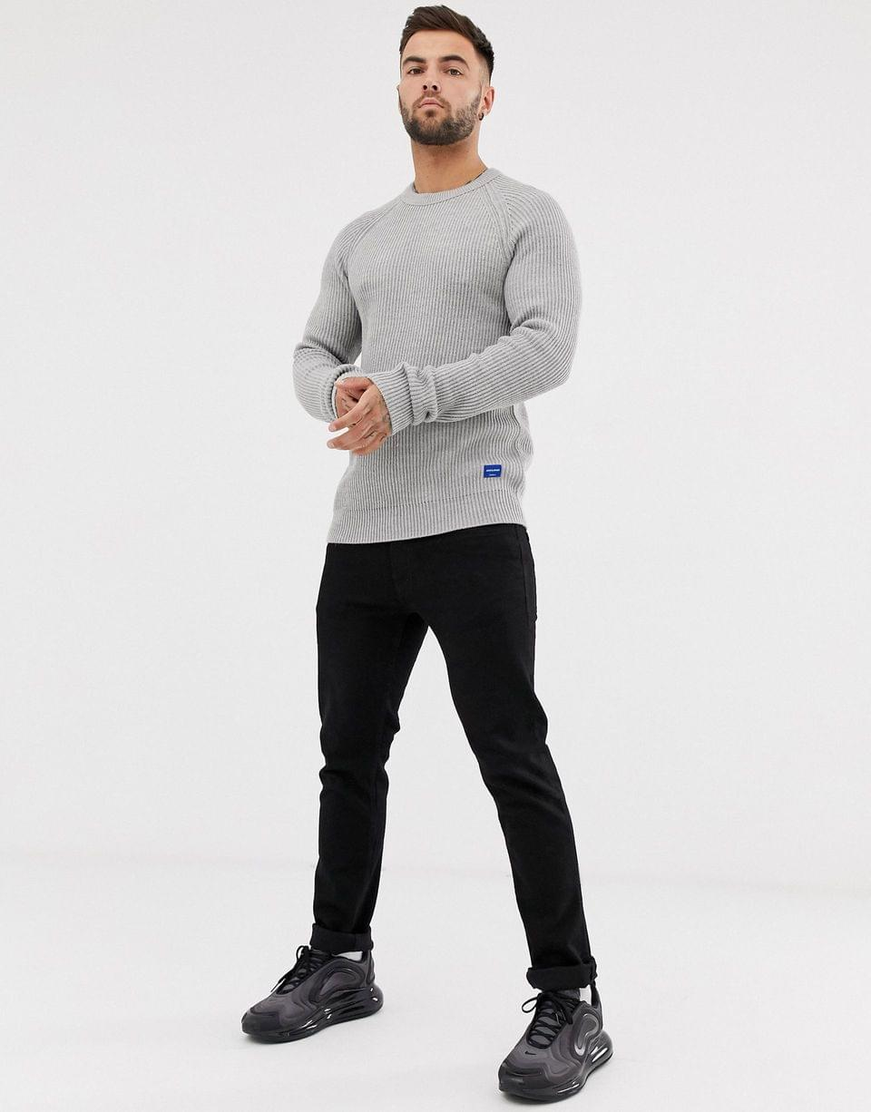 Men's Jack & Jones Originals crew neck knitted sweater in gray