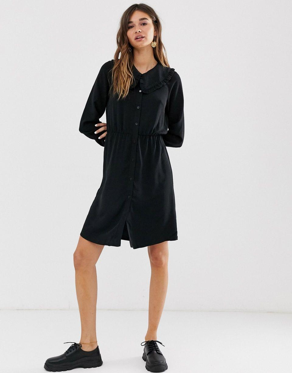Women's Monki mini dress with long sleeve and oversized collar in black