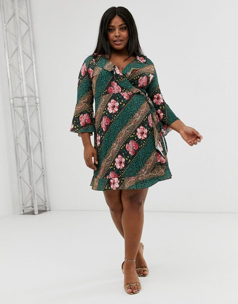 Women's Outrageous Fortune Plus ruffle wrap dress with fluted sleeve in scarf print