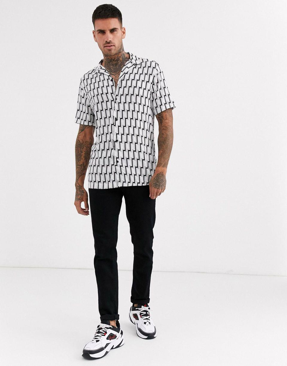 Men's River Island shirt with geo print in white