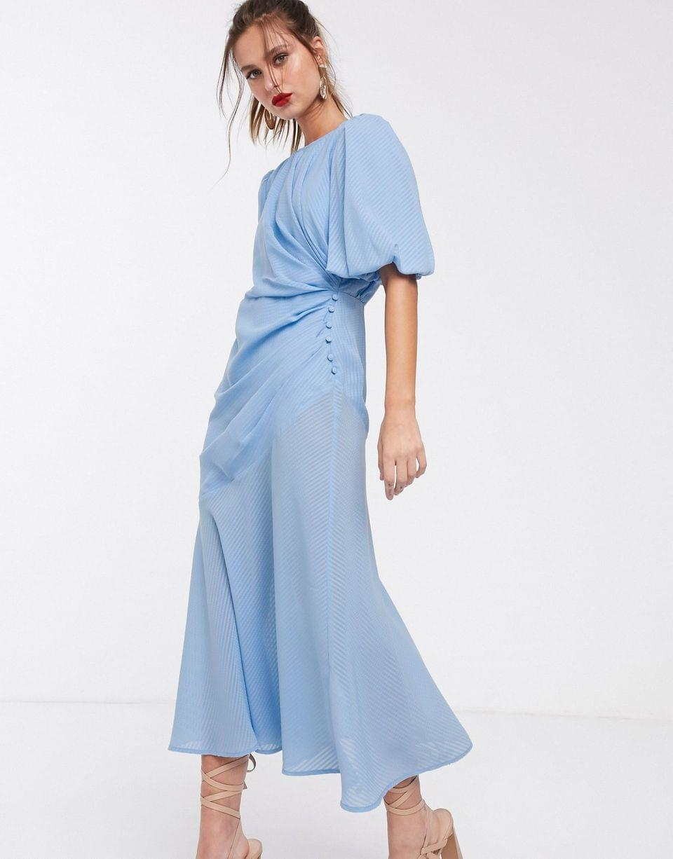 Women's ruched maxi dress with puff sleeve in self check