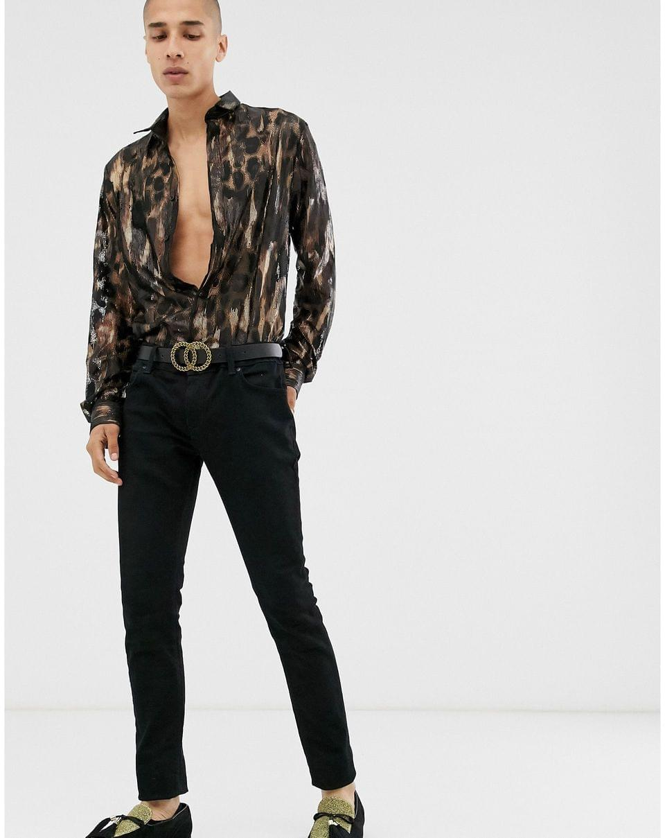 Men's Twisted Tailor super skinny sheer lace shirt with leopard print