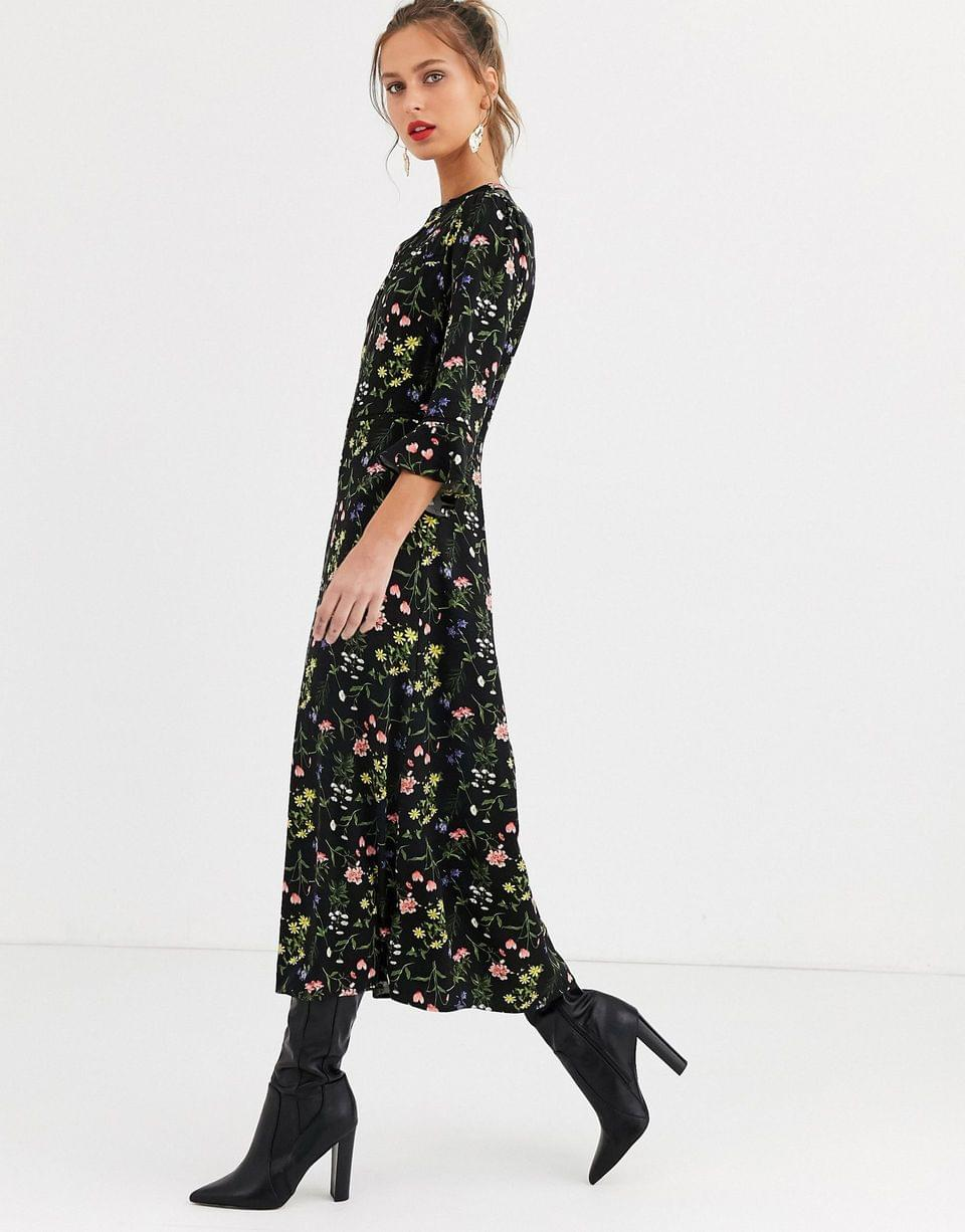 Women's Oasis midi dress with frill sleeves in floral print