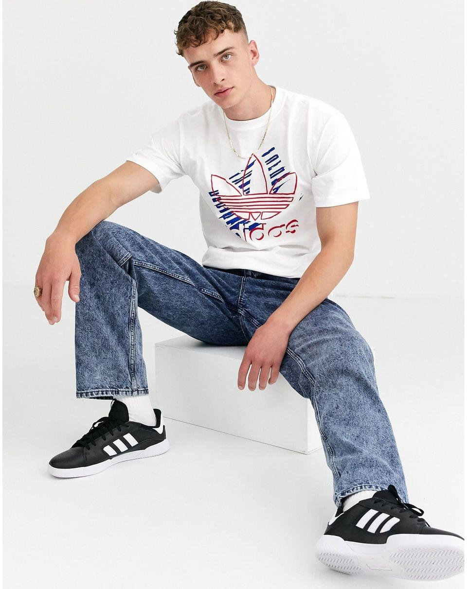Men's adidas Originals t-shirt with americana graphic logo t-shirt white