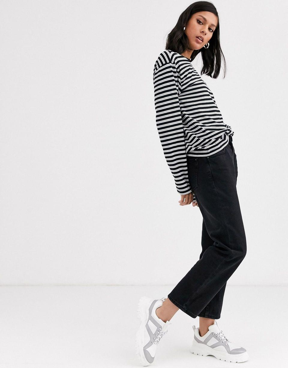 Women's Monki oversized long sleeve jersey top in black and white stripe