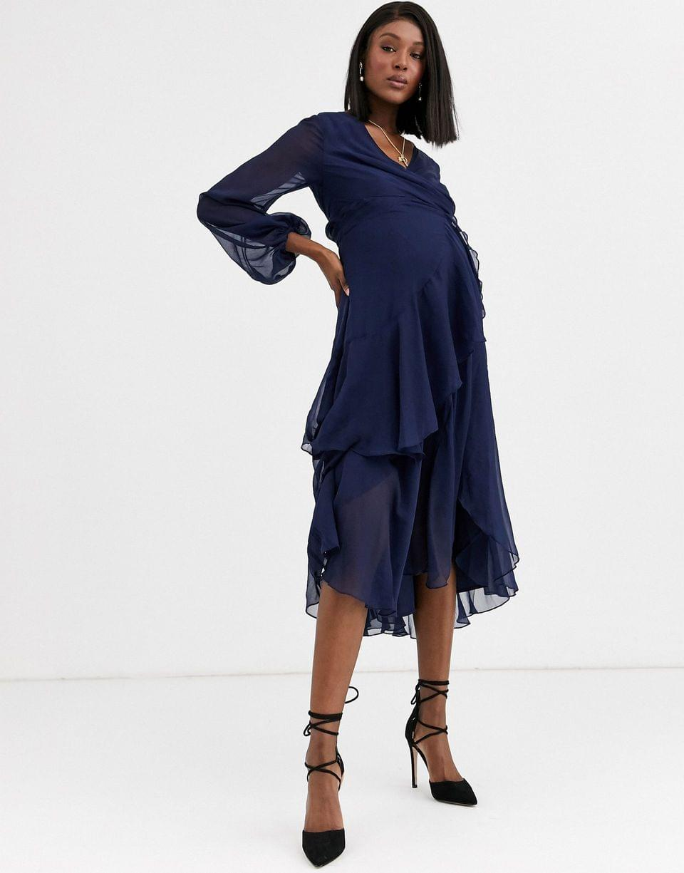 Women's Maternity wrap waist midi dress with double layer skirt and long sleeve
