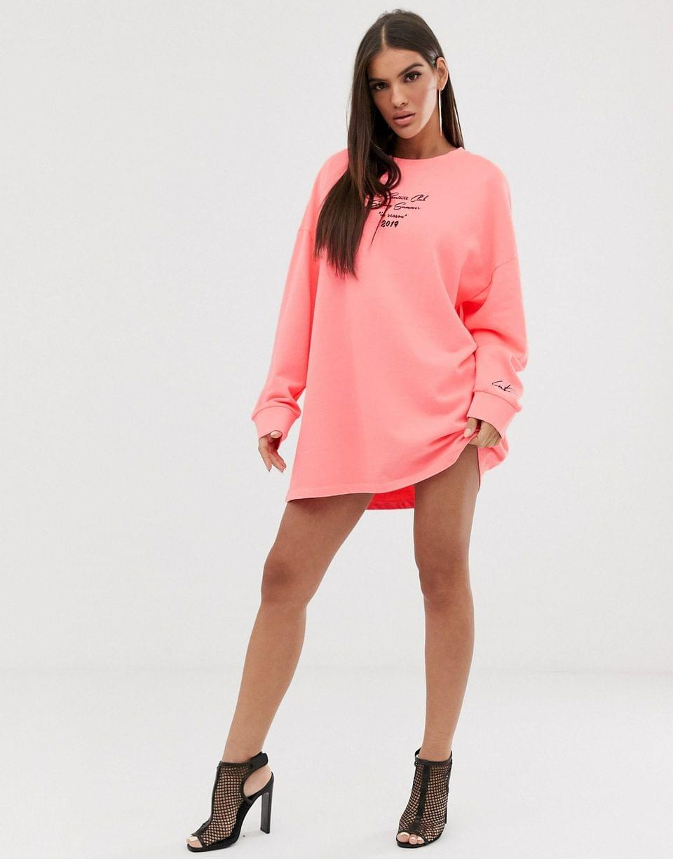 Women's The Couture Club oversized long sleeve motif tshirt dress in acid neon pink