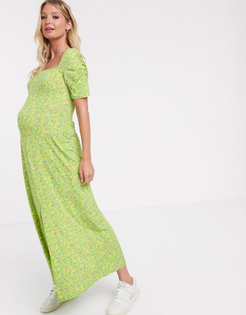 Women's Maternity ruched sleeve maxi tea dress in floral print