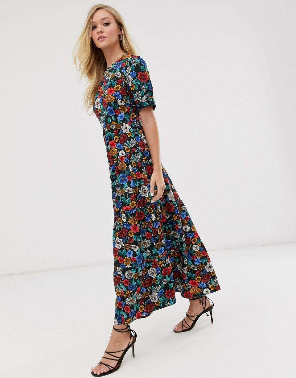 Women's Neon Rose maxi tea dress with balloon sleeves in vintage floral