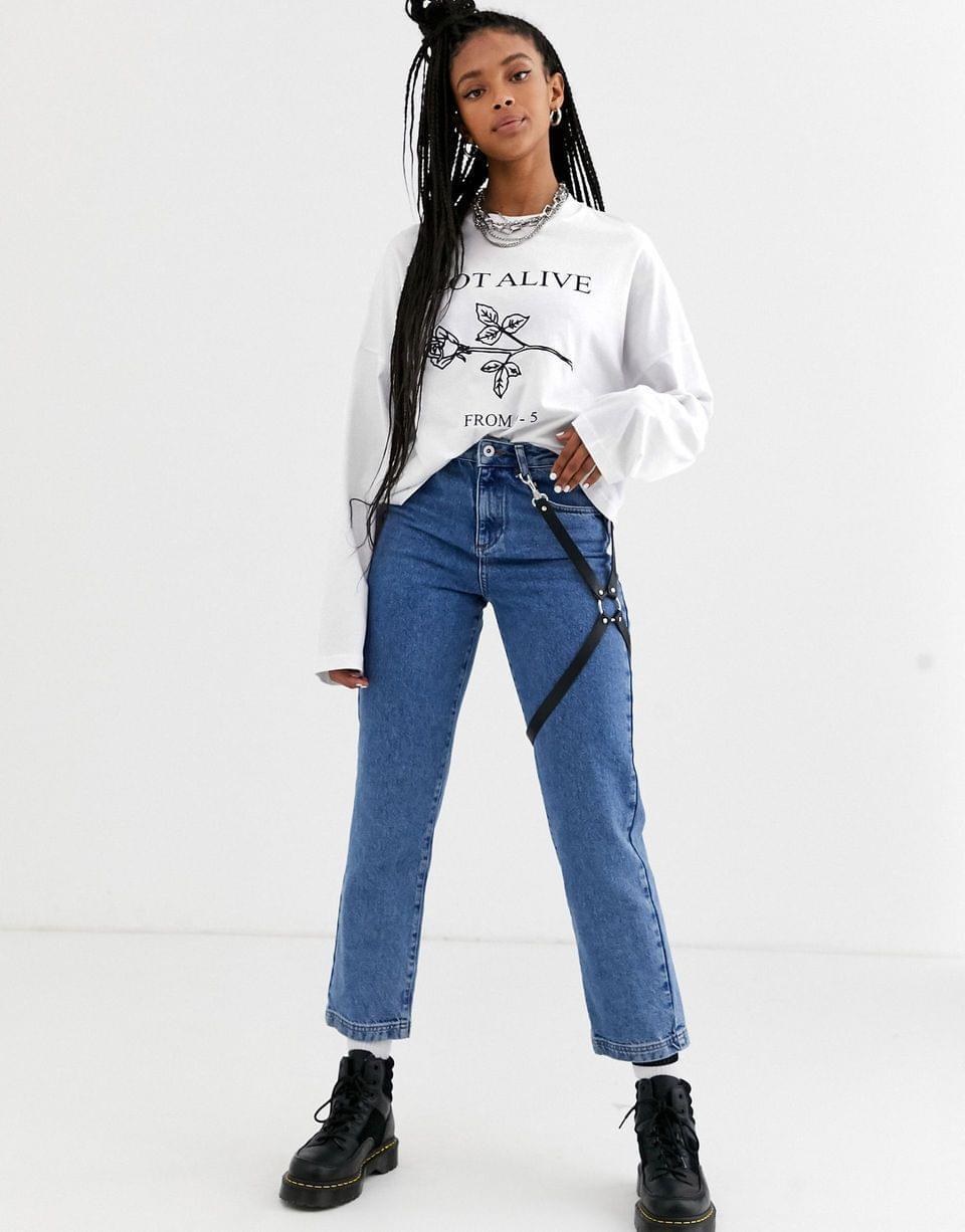 Women's The Ragged Priest relaxed long sleeve t-shirt with not alive rose print