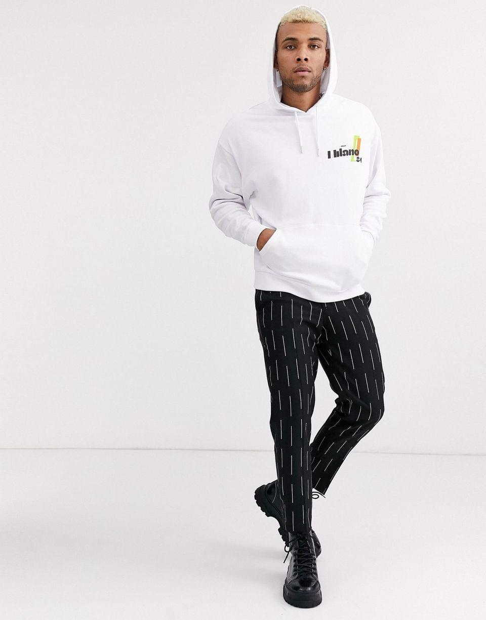 Men's oversized hoodie in white with Milano print