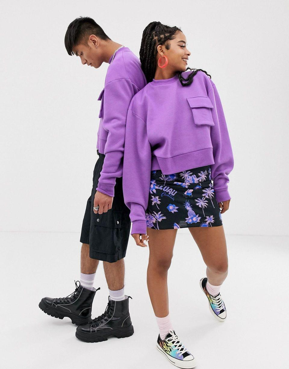 Women's COLLUSION Unisex cropped sweatshirt with pocket in purple