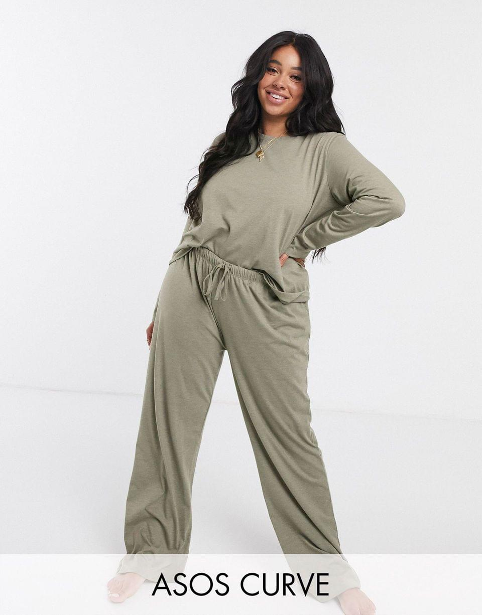 Women's Curve mix & match jersey long sleeve top and pants