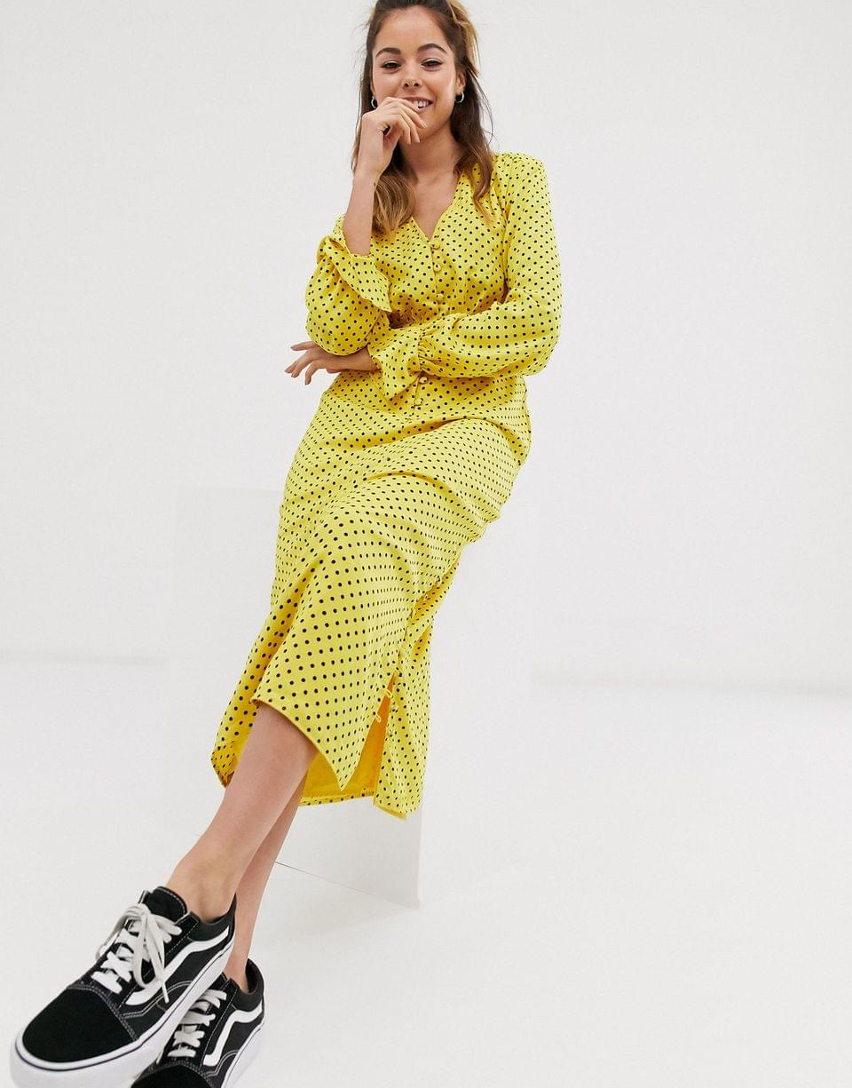 Women's button front midi tea dress with fluted sleeve in yellow spot