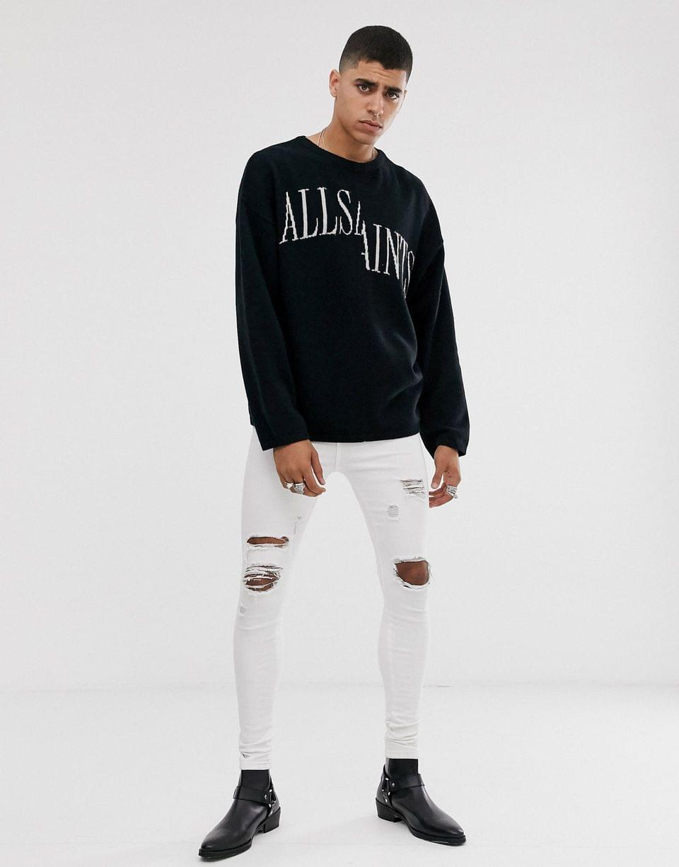 Men's AllSaints oversized split logo sweater in black