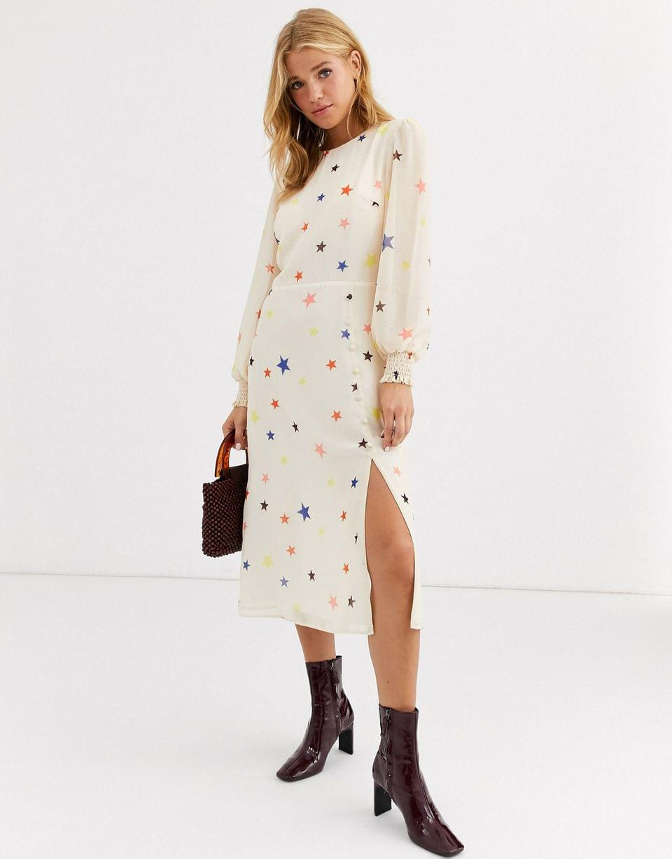 Women's Nobody's Child midi dress with balloon sleeve in star print