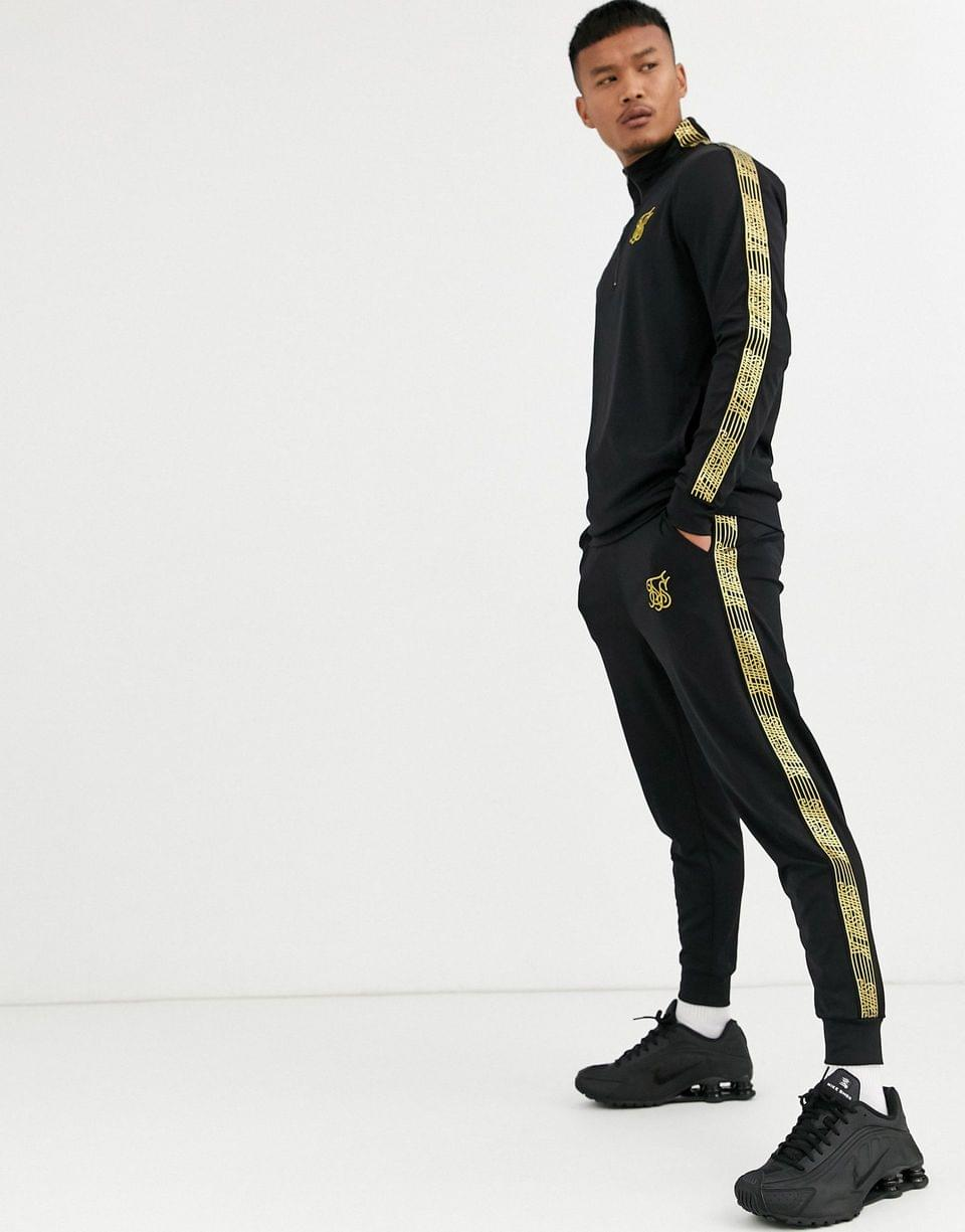 Men's SikSilk track top in black with gold logo