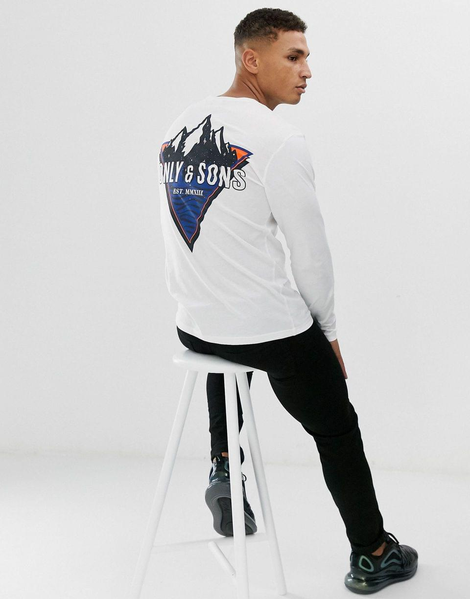 Men's Only & Sons graphic long sleeve top in white