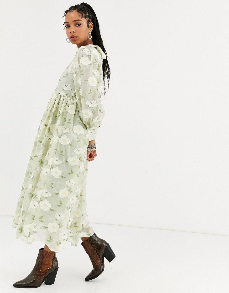 Women's Dream Sister Jane long sleeve midi dress with colume sleeves in all over floral embroidery