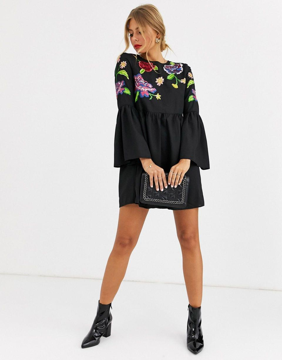 Women's fluted sleeve embroidered smock mini dress