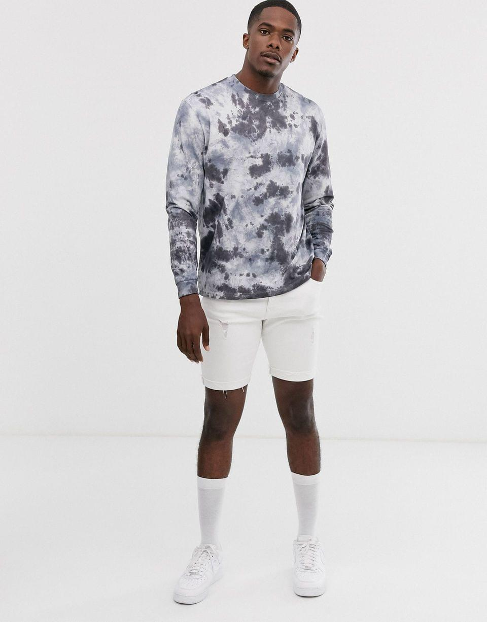 Men's relaxed long sleeve t-shirt with tie dye wash in gray