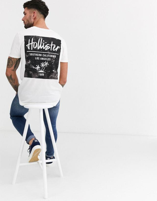 MEN Hollister washed back print logo t-shirt in white