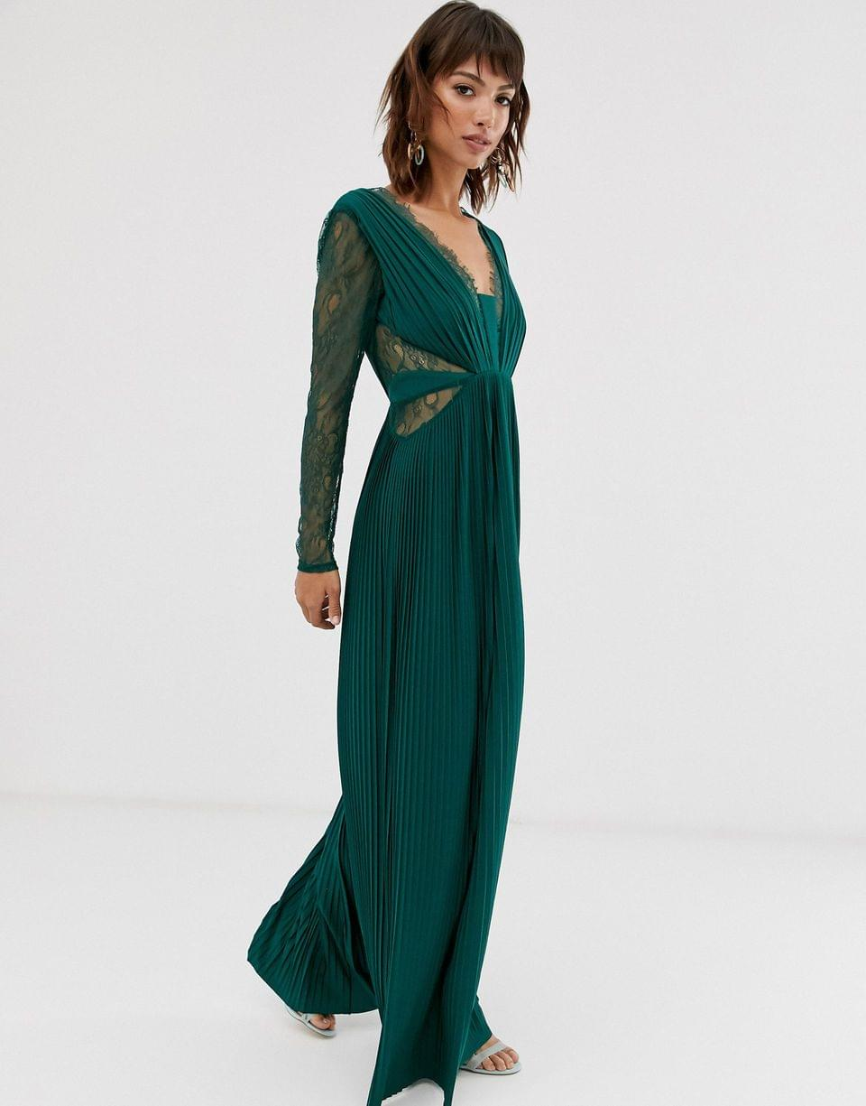 Women's lace and pleat long sleeve maxi dress