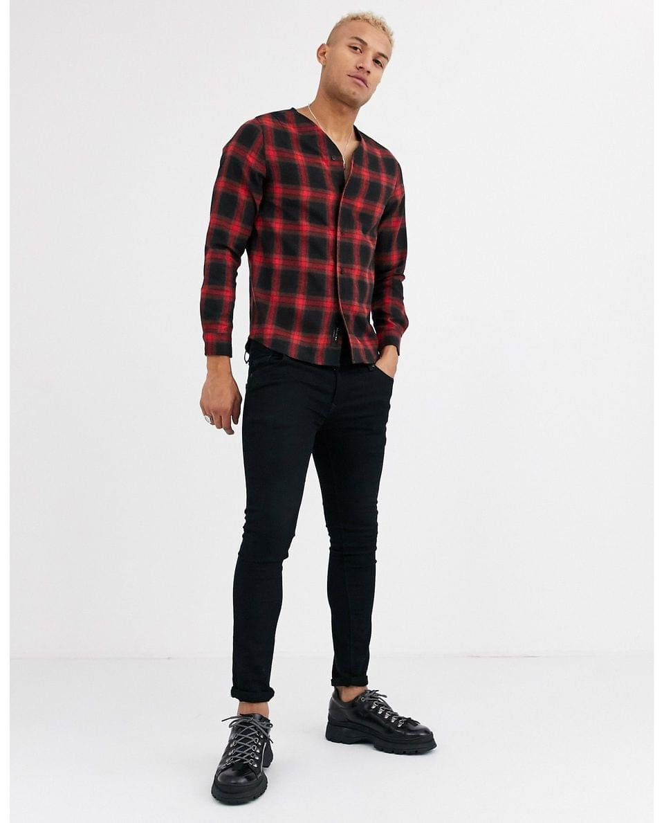 Men's Religion baseball shirt with long sleeves in red check