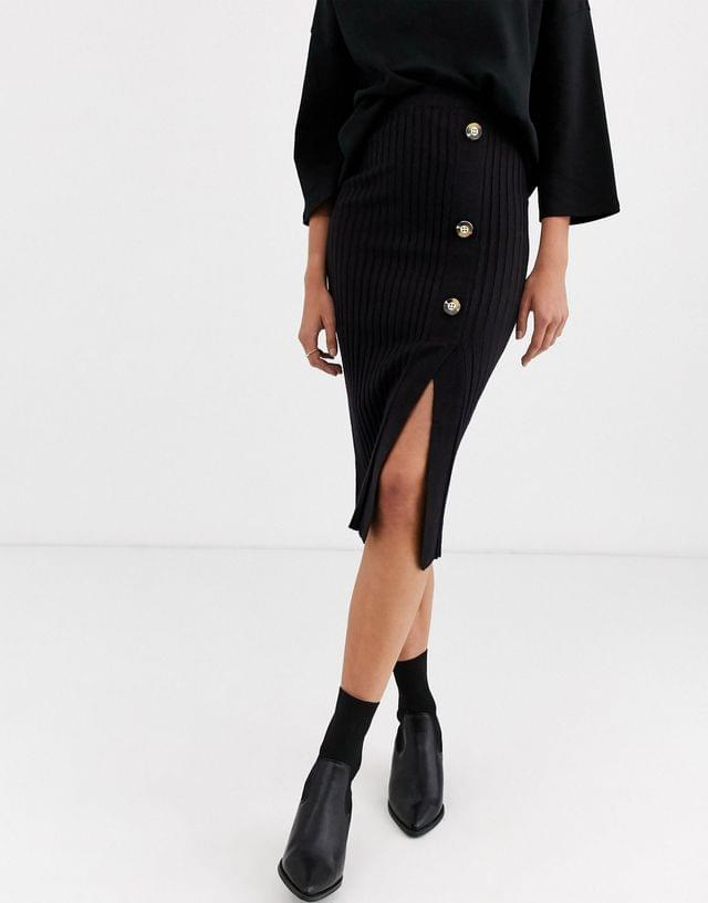 WOMEN River Island knitted skirt with button detail in black