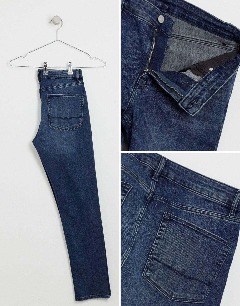 Men's skinny jeans in blue black with busted knees