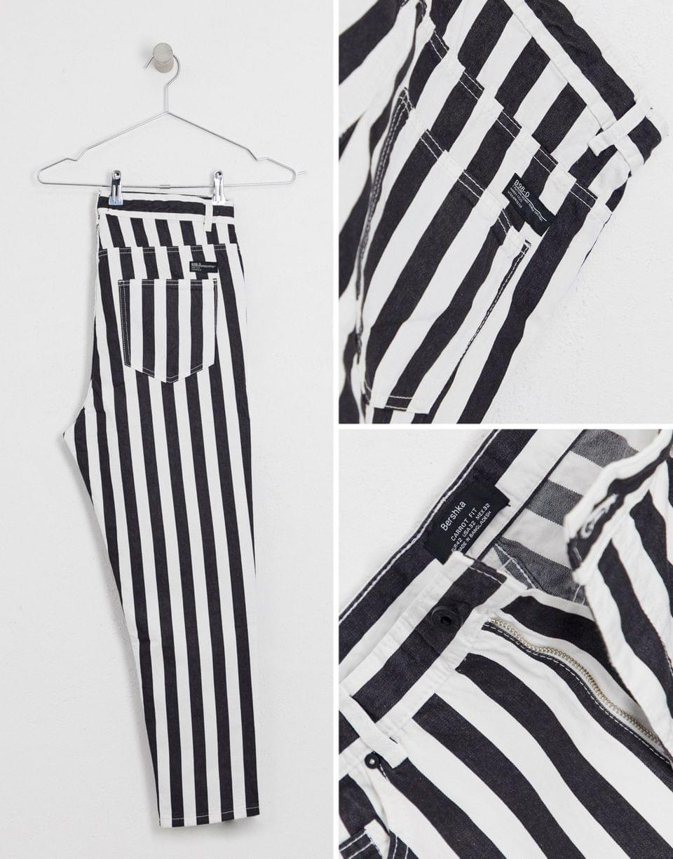 Men's Bershka striped carrot fit jeans in black and white