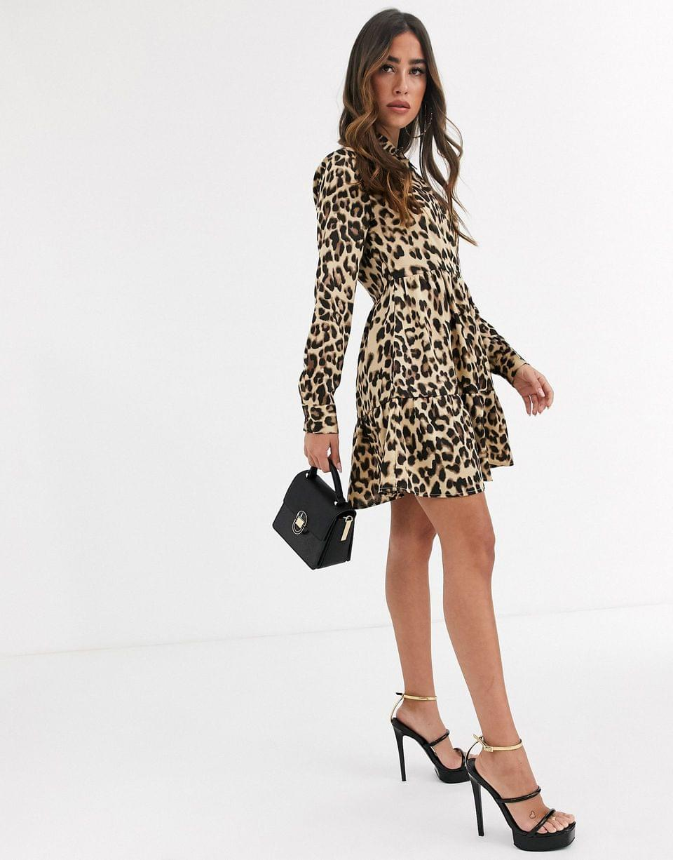 Women's Missguided button front shirt dress in leopard