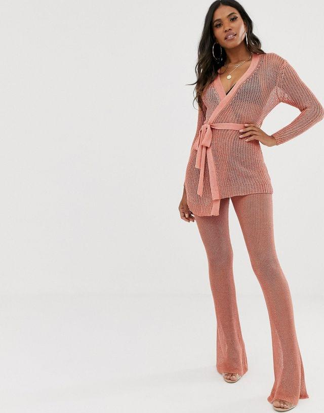 WOMEN Sorelle UK knitted shimmer tie front longline cardi and wide leg pants two-piece in pink